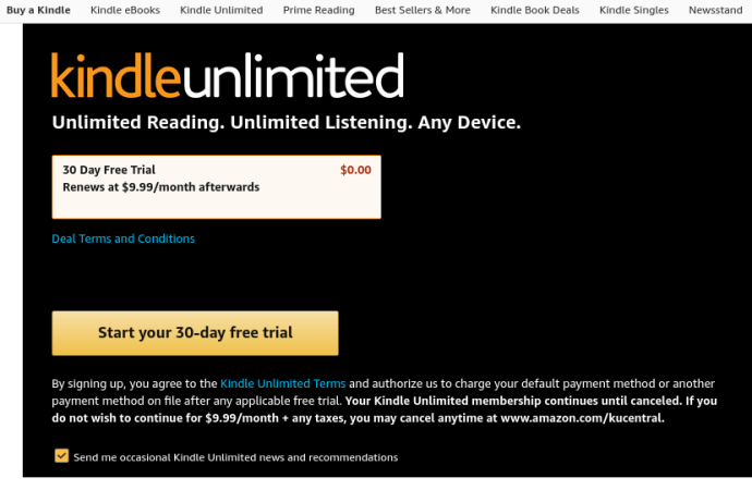 Amazom Kindle Unlimited Free Trial Signup