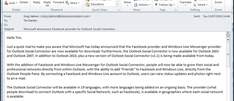How to add the Facebook social connector to Office 2010