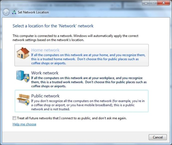 Select network type