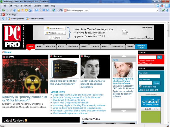 K-Meleon PC Pro homepage