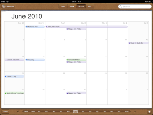 Apple iPad Calendar app