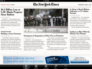 Apple iPad NY Times app