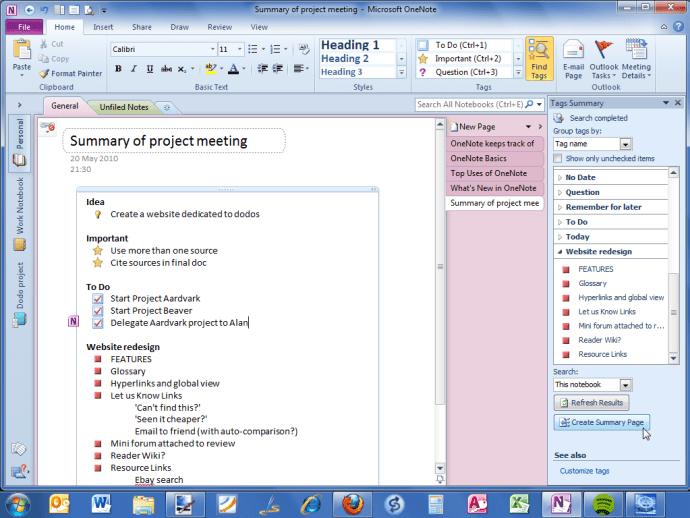 Office OneNote 2010 summary