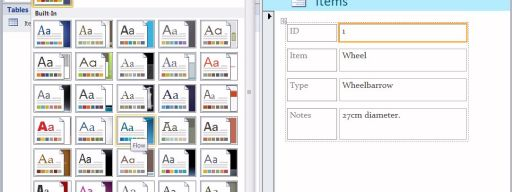 Microsoft Access 2010 - Themes