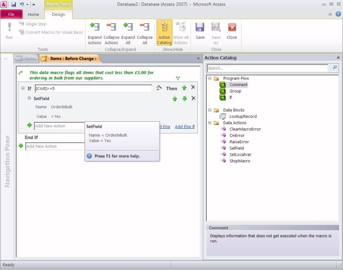 Microsoft Access 2010 - Macro Designer