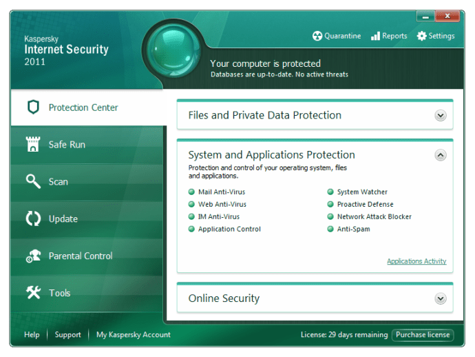 The front-end of Kaspersky Internet Security 2011 is clear, if unexciting