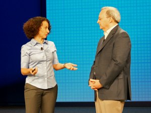 Intel Fellow Lana Nachman describes her work in contextual computing to CTO Justin Rattner