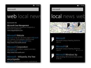 Microsoft Windows Phone 7 - Bing web and maps search