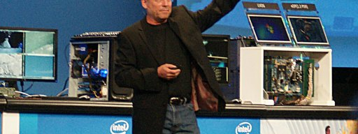 Mooly Eden holds up a pre-production Haswell processor