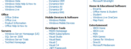 Just a fraction of Microsoft's product list