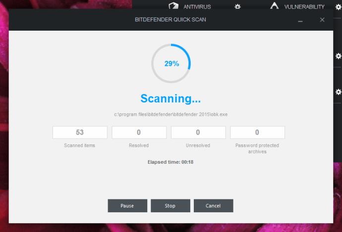 BitDefender Internet Security 2015 review - scan in progress