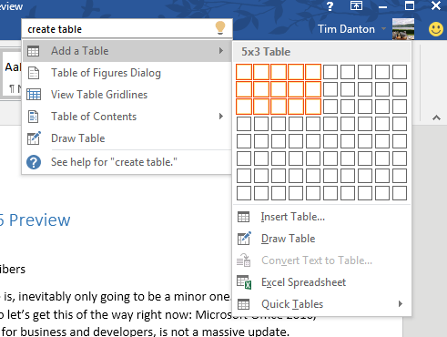 Office 2016 review - search box