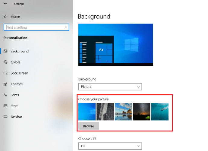 Microsoft Windows 10 How to change Wallpaper - Personalisation Browse