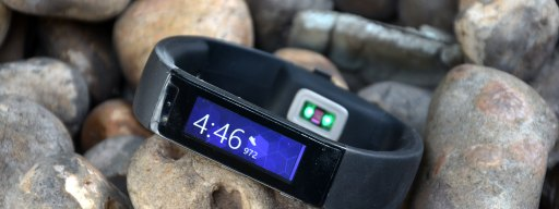 Microsoft Band review: Front on rocks