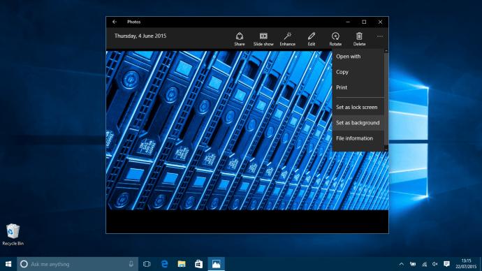 Microsoft Windows 10 How to change Wallpaper - Photos app