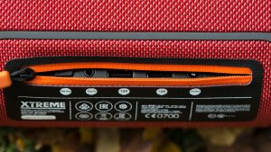JBL Xtreme review: The ports are hidden behind a waterproof zip