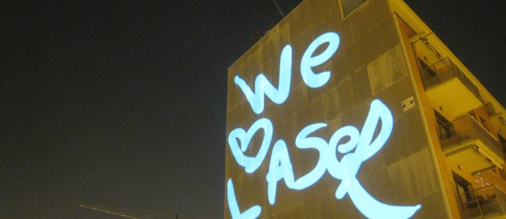 Laser on a wall