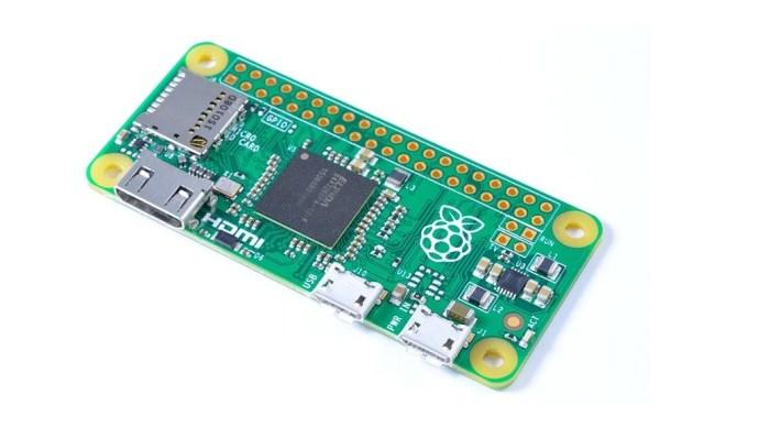 Plano principal de Raspberry Pi Zero, en ángulo