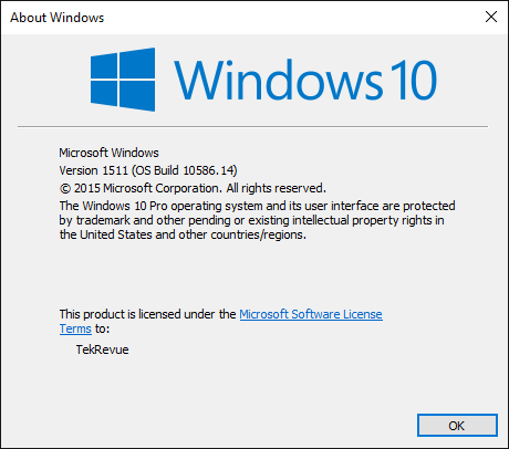 about windows build number winver