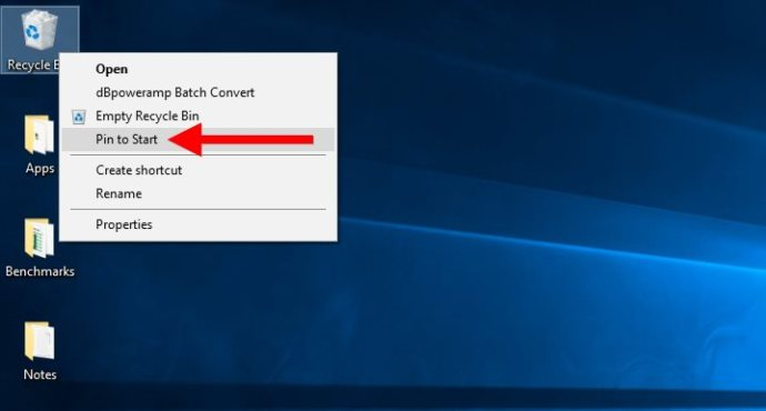 windows 10 recycle bin pin to start