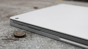 Microsoft Surface Book review: Closed, with volume buttons showing