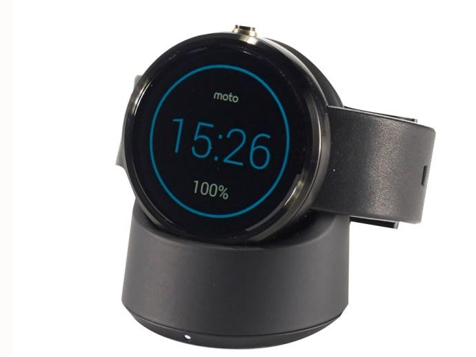 Motorola Moto 360 on charger