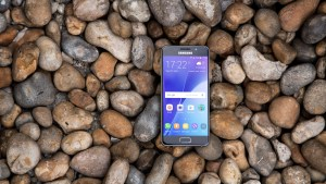Samsung Galaxy A3 on pebbles