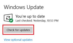 Windows Update menu 2