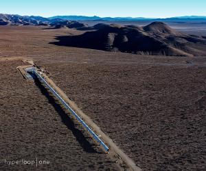 Virgin Hyperloop One DevLoop tunnel from above in Nevada