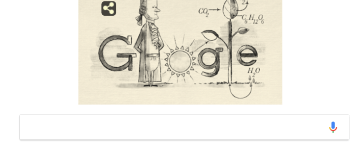 Jan Ingenhousz and his discovery of the photosynthesis equation is celebrated in a Google Doodle
