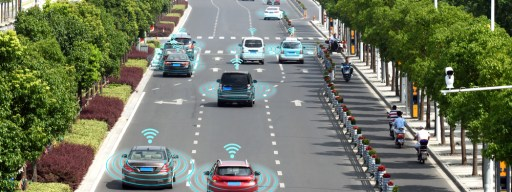 Self-driving cars on road
