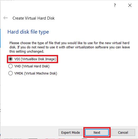 Virtual Box file type menu
