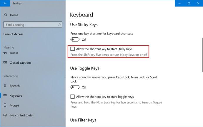 disable sticky keys windows 10