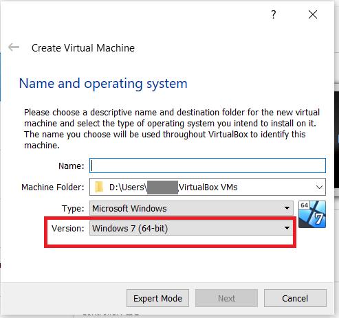 VirtualBox OS Version menu