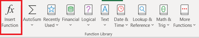 Menú de fórmulas de Excel