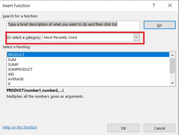 Menú de funciones de inserción de Excel