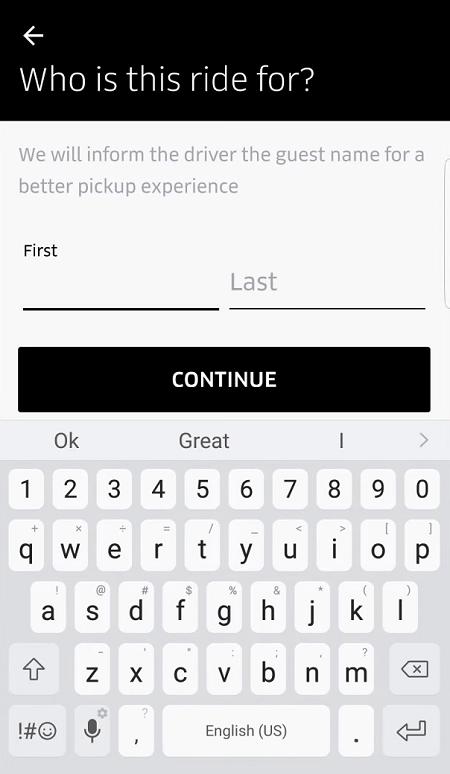 Order Uber for Someone Else