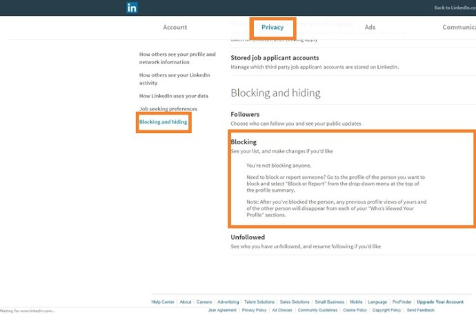 privacy and settings page