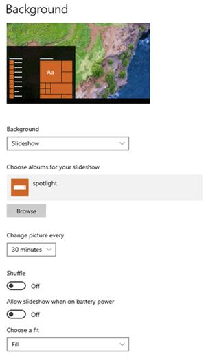Slideshow settings