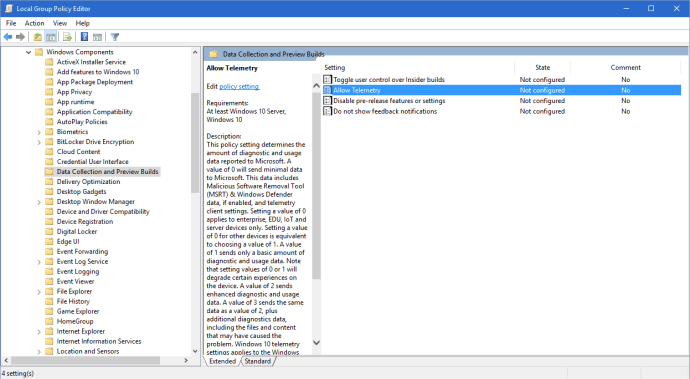 group policy editor allow telemetry