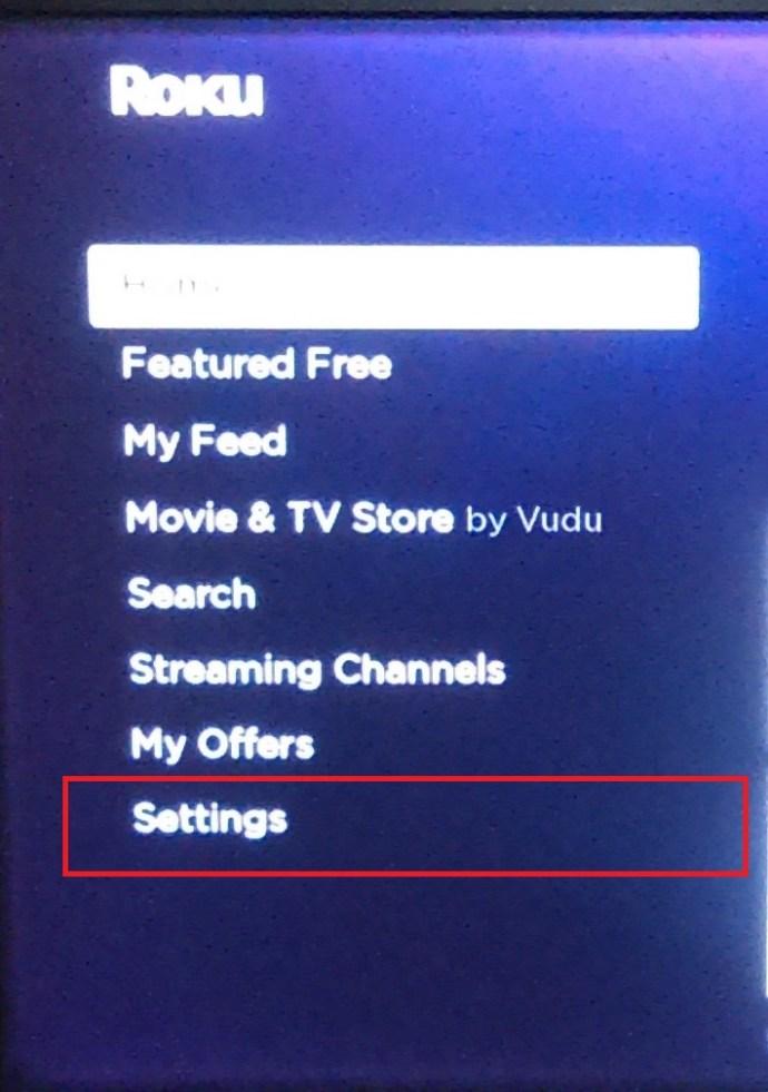Roku Homepage menu