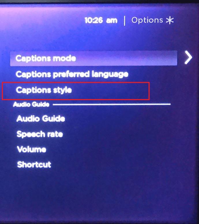 Roku captions menu
