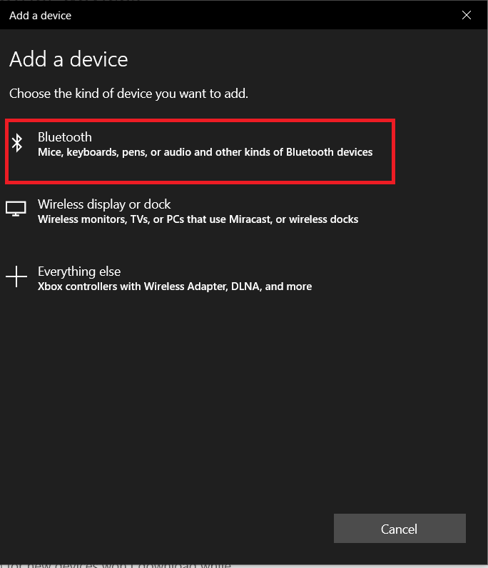 Devices - Add Device window