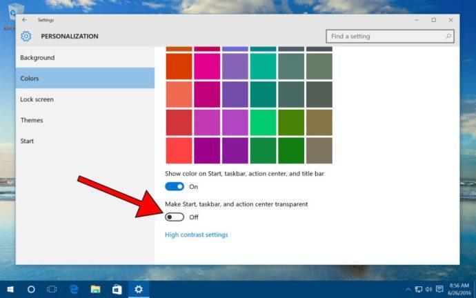 windows 10 make start taskbar transparent