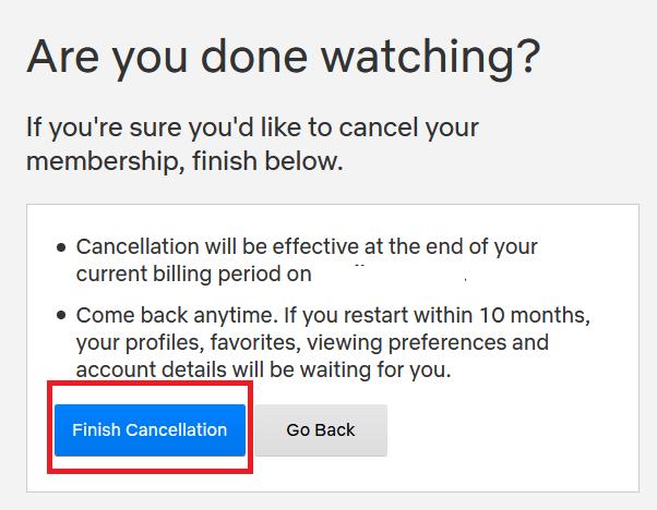 Netflix cancellation page - 2