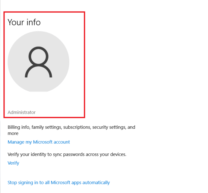 Windows 10 User Info page