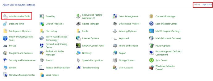 Windows 10 Control Panel Menu