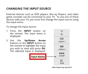Changing the input source