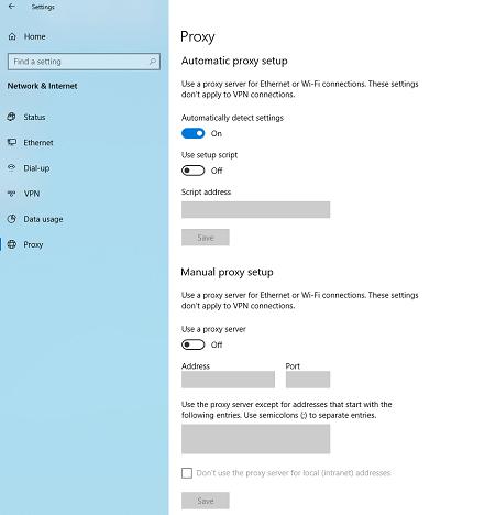 configuración manual de proxy