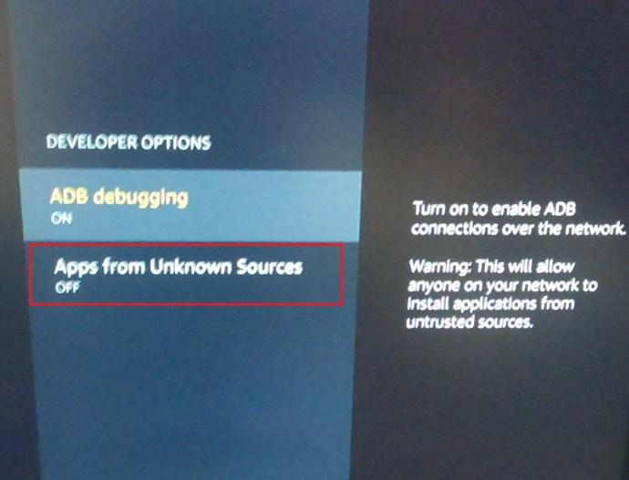 Fire TV Developer Options page